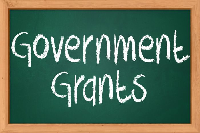 goverment grants written in white chalk on a dark green chalk board